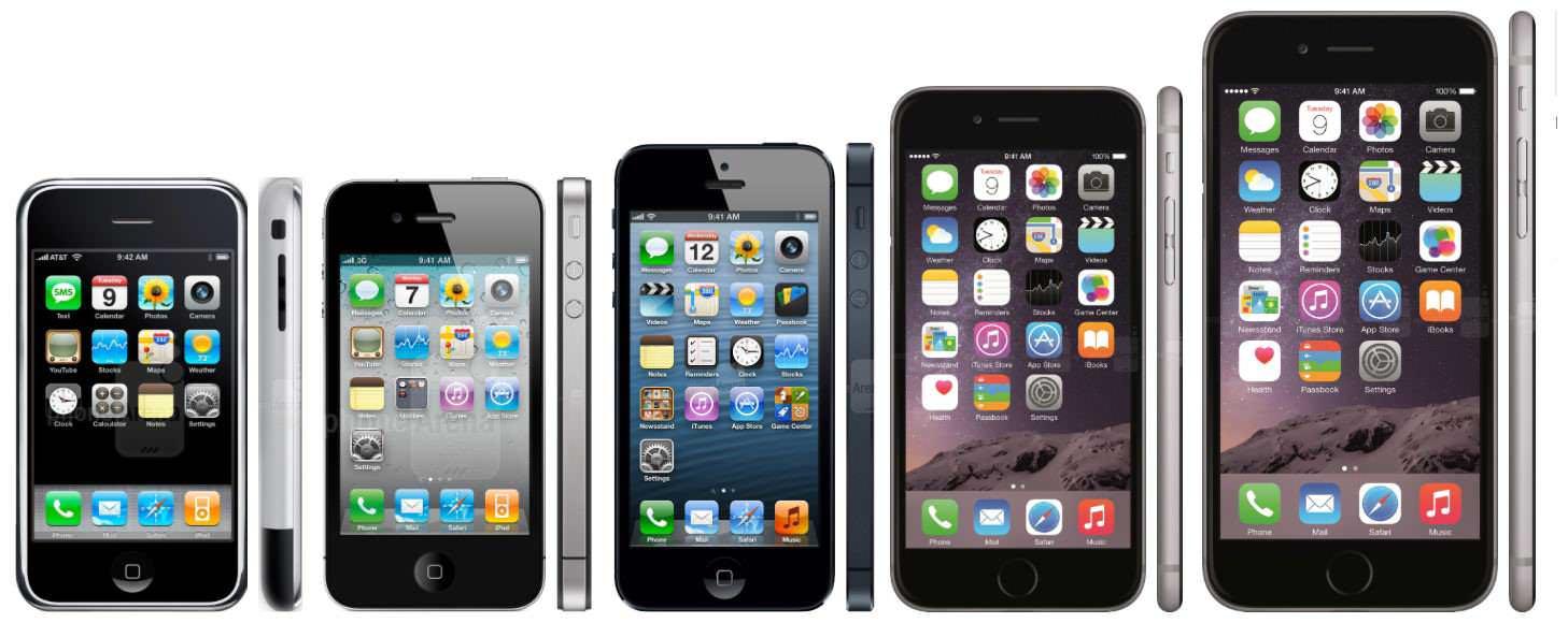 фото всех айфонов с 1 по 6