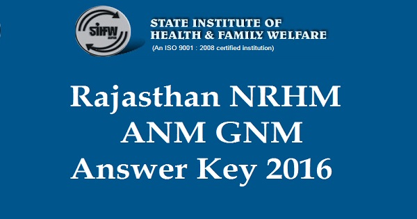 Rajasthan NRHM Answer Key 2016