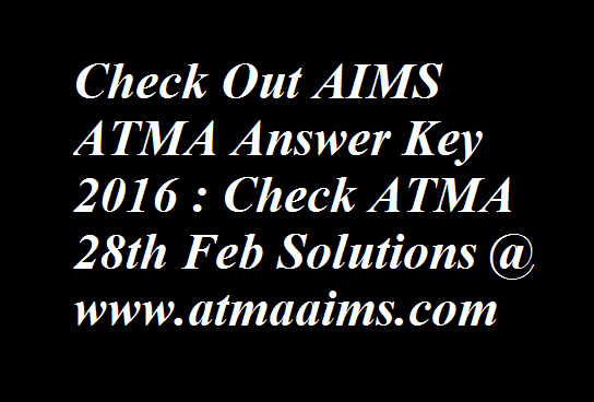 AIMS ATMA Answer Key 2016