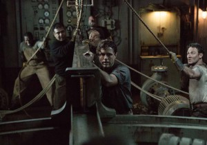 Ray Sybert (Casey Affleck) and Tchuda Southerland (Josh Stewart) struggle to keep their ship, the SS Pendleton, from sinking in Disney's THE FINEST HOURS, the heroic action-thriller presented in Digital 3D (TM) and IMAX (c) 3D based on the extrordinary tur story of the most daring rescue mission in the history of the Coast Guard.