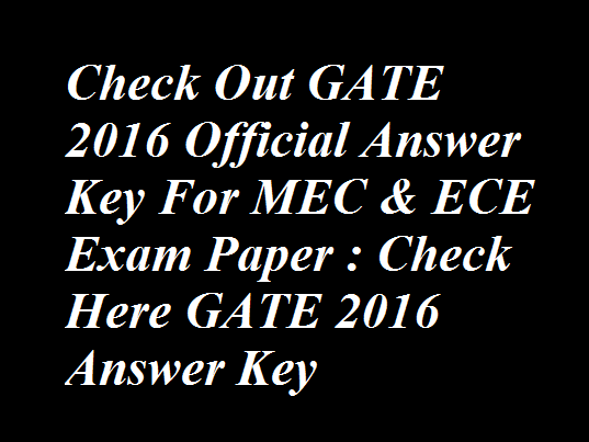 GATE 2016 Official Answer Key