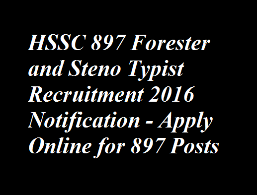 HSSC 897 Forester and Steno Typist Recruitment 2016