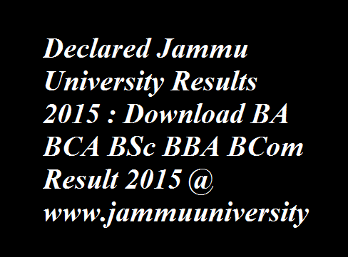 Jammu University Results 2015