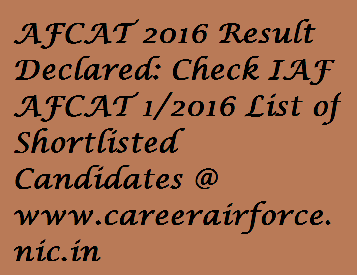 AFCAT 2016 Result