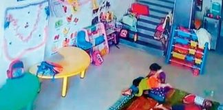10 month old being thrashed & kicked by caretaker in crèche at Mumbai