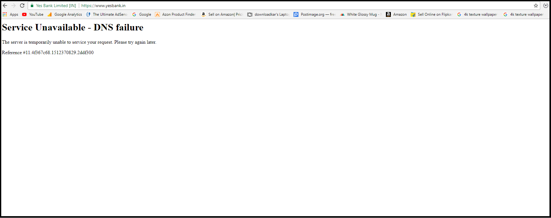 Yes Bank Website Down for reason DNS failure